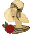 Logo for Paname Petit Brasserie | French Restaurant at 1068 Second Avenue, Midtown East, NYC, 10022, Woman in Yellow Hat with a Rose collar.